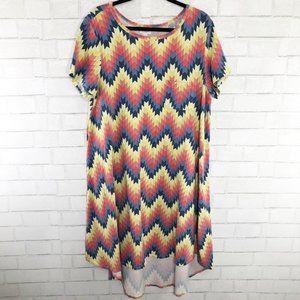 LuLaRoe Carly Dress Chevron Print High Low Hem 2XL